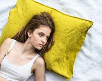 Set of 2 GREENISH MUSTARD linen pillowcase