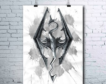 Skyrim - Skyrim Print - Skyrim Poster - Skyrim Art  - Game Living Room - Wall Art Gaming - Skyrim Printables - Games Wall Art