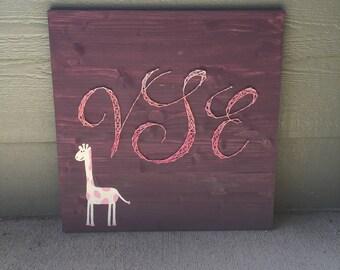 Handpainted Giraffe Ombré String Art Monogram Pink and Purple Wood Nursery Sign.