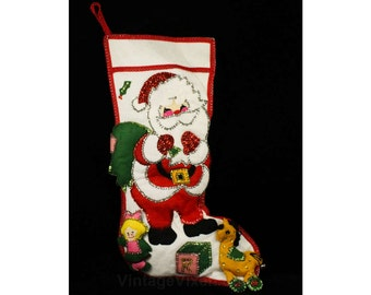 Felt Christmas Stocking - Santa Appliques - Hand Embroidery & Sequins - 1960s 1970s Holiday Decor - Probably From A Bucilla Kit - 48119