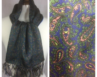 Vintage Scarf Paisley By Joxford Scooter Classic Mods Evening Blue Warm Wool Lining Gift Idea 1960s NEW