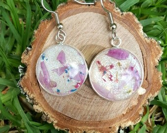 Real flower and eco resin earrings