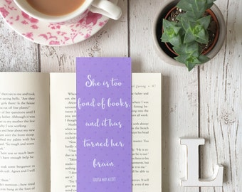 Louisa May Alcott Quote Purple Spotty Bookmark • book lover gift • book quote • She is too fond of books and it has turned her brain