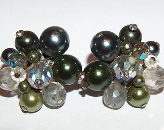 8092: Vintage Signed VENDOME Earrings Gray Green Glass Bead Rhinestones Grey Designer Costume Jewelry at Vintageway Furniture