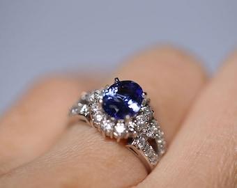 1.8 carat Tanzanite & Diamond Halo Ring in 14k White Gold