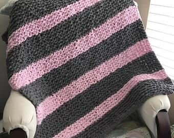 Handmade Knit Striped Baby Blanket