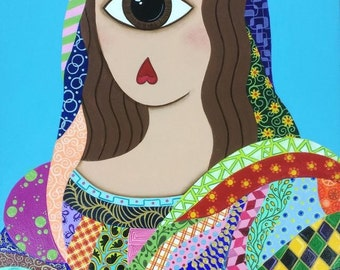 Cyclops Mona, original acrylic painting, wood panel, da Vinci, pattern, one eyed, abstract, series, OOAK