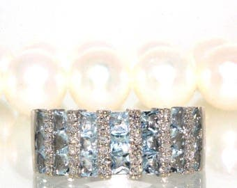 EFFY 14k White gold Natural Princess Aquamarine & Diamond cluster ring band 2.00