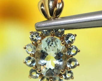 14k Yellow gold natural Aquamarine Oval Cluster Flower Pendant Charm 2.02ctw