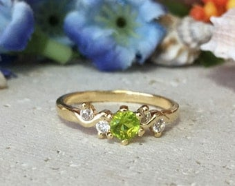 20% off-SALE!! Peridot Ring - August Birthstone - Birthstone Ring - Slim Delicate Ring - Gold Ring - Gemstone Ring - Tiny Simple Jewelry