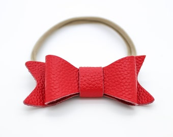 Baby Headband, Red Leather Bow, Baby Leather Bow Headband, Leather Bow, Baby Leather Hair Bow, 123