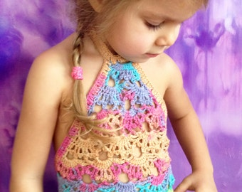 Rainbow crochet top/ Crochet Toddler Crop Top/ Baby crochet top/ Crochet halter top/ Crochet toddler bohemian top/ Girl crochet festival top