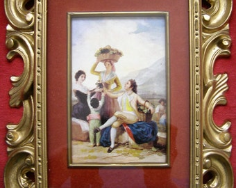 Beautifully Ornate Framed Norleans Taiwan Picture of a Family & Peddler