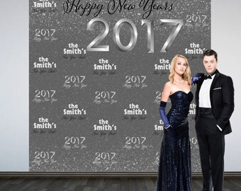 Happy New Year Personalize Photo Backdrop -2017 Celebration Silver Photo Backdrop- Party Large Photo Backdrop