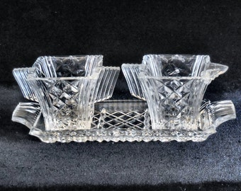 Art Deco Pressed Glass Cream and Sugar with Tray