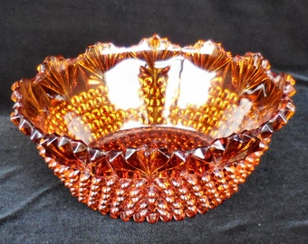 Adams Co. Pressed Amber Glass Serving Bowl in the Hobnail with Fan pattern from the 1800s