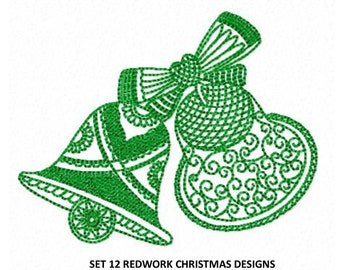 Set 12 Christmas Redwork Machine Embroidery DESIGN NO. 109