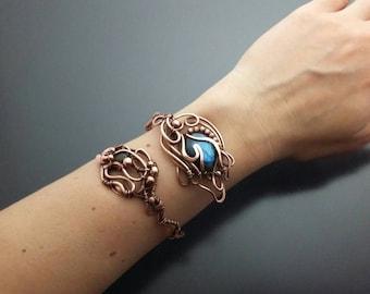Blue labradorite bracelet Copper jewellery Adjustable cuff Metal bracelet Blue gem bracelet