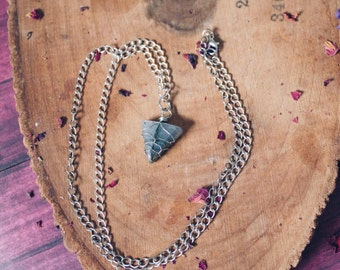 Wire Wrapped Triangle Labradorite Necklace