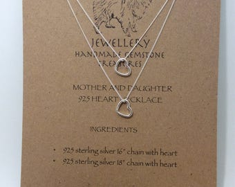 925 sterling silver mother and daughter heart necklaces