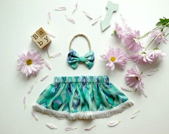 Mint blues baby girl skirt, baby girl clothing, baby girl circle skirt, baby fashion skirt, summer skirt, baby skirt set, baby headband