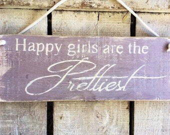 Happy Girls Are The Prettiest. Girls Room Decor. Gift For Girls.Daughter.Birthday Present.