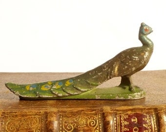 Ancient figurine of animal Peacock of miniature farm metal unleaded - former french toy collection Quiralu circa 1930