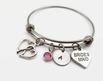 Bridesmaid bracelet - Bridal party jewelry - Bridesmaid bangle - Personalized bridesmaid gift - Wedding party gift jewelry - Bridesmaid gift