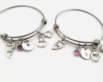 Best Friend bangle set - Partners in Crime bracelets - BFF personalized bangle set gift - Gift for best friend - Handcuff bracelet set