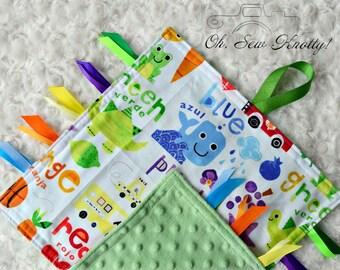 "Handmade Bilingual Colors Sensory Ribbon Security Blanket 12""x12"""