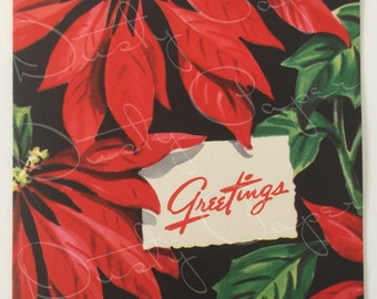 Dramatic Vintage Unused 1950s Christmas Card, Unbranded