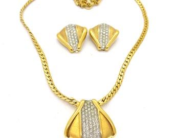 Vintage Signed Lanvin Paste Gilt Necklace Earring Set