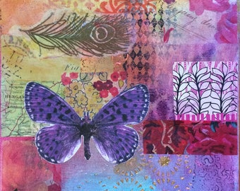 Vibrant small mixed media canvas 'Purple butterfly'