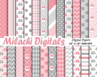 60% OFF SALE Elephant digital paper, elephant scrapbook papers, pink and gray wallpaper, baby shower background - M478