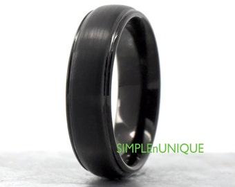 Womens Mens Black Wedding Ring Band