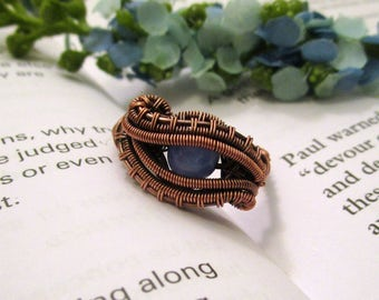 Wire Wrapped Rings / Boho Jewelry / Blue Jewelry / Copper Ring / Wire Wrapped Jewelry Handmade / Something Blue / Wire Jewelry / Size 7 US