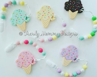 SALE! Adorably Delicious Silicone ICE CREAM Teether Clips! cpsia compliant, food-grade silicone, Perfect Baby Shower Gift