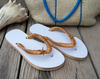 Beach wedding flip flops, bride sandals, decorated flip flops, starfish, nautical, tropical, custom colors, gold white, reception shoes