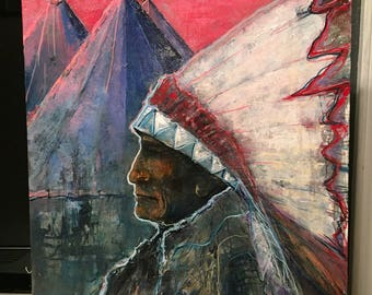 Oil Painting Native American Chief Warrior Teepee