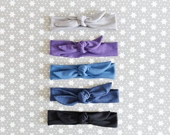 Tie Baby Headbands in dark shades/ Available different colors/patterns