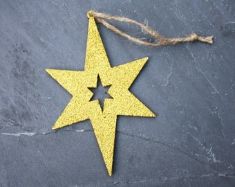 Wooden Decoration, Christmas Star, Gold Glitter Star, Hanging Ornament, Festive Decoration, Wooden Star, Glitter Star, Large Tree Ornament