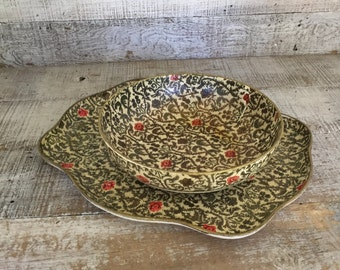 Tray and Bowl Set Alfred E Knobler Tray and Bowl Paper Mache Bowl Pressed Paper Tray Serving Set Cottage Chic Decor Centerpiece