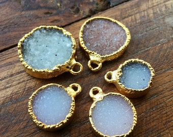 White Gray Blush Druzy Circle Pendant in 22k gold- plated electroform #1026
