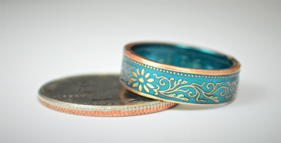 Coin Ring, Turquoise Ring, Japanese Ring, Bronze Ring, Japanese Coin, Japanese Jewelry, Coin Rings, Japanese, Coin Art, Japanese Coin Ring