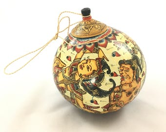 Hand Painted Hanging Gourd with Lid