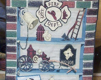 Unique Hanging Tapestry for Firemen! Firemen wall Hanging! Sharp! Personalization Available!