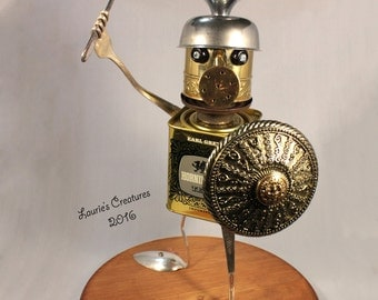 Warrior, found object, metal sculpture made from re-purposed materials. ~ Sir Horniman the Lustful