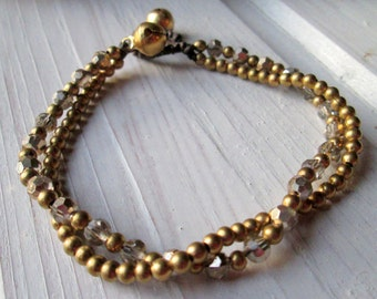 Pearl bracelet with shimmering Crystal beads * hippie boho Festival style * gold