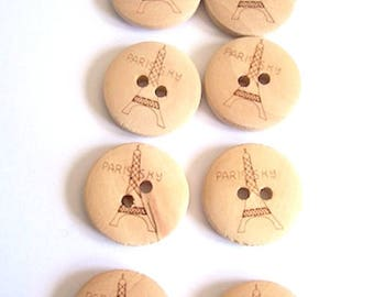 wooden buttons wood eiffel tower paris pattern - pack of 8