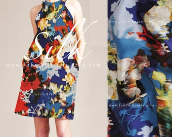 Red Blue Silk Abstract Satin Fabric - buy printed silk
